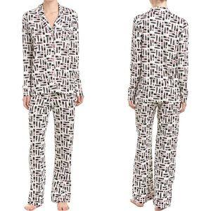 Cosabella Bella Lipstick Pajama Set White Black M